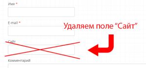 Как убрать поле «ваш сайт» из формы комментариев на wordpress